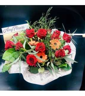 """Composition Ronde Roses Rouges gros boutons""""Adoration certaine"""".AnyFleurs.fr"""