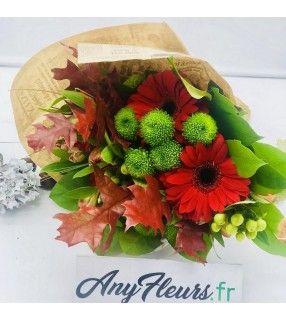 """Bouquet de Fleurs Rouge varié et chaleureux """"Cordial"""". AnyFleurs.fr"""