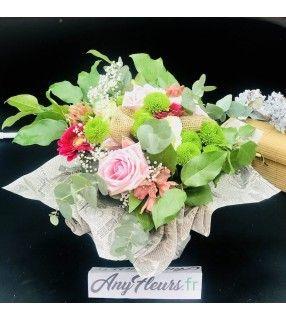 """Bouquet Douceur Rose avec roses roses """"Rosée d'hiver"""". AnyFleurs.fr"""