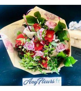"""Bouquet Romantique Coloré avec roses gros boutons """"Tutti-Frutti"""". AnyFleurs.fr"""