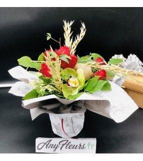 """Bouquet Romance Originale avec roses rouges et orchidées""""Romance Originale"""".AnyFleurs.fr"""