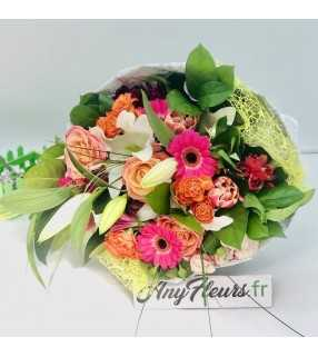"""Bouquet Festif Coloré avec Roses gros boutons et roses branchues""""Festif Coloré"""". AnyFleurs.fr"""