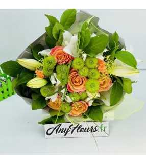 """Bouquet Rond Orangé avec roses orange gros boutons""""Douceur de fruit"""". Anyfleurs.fr"""