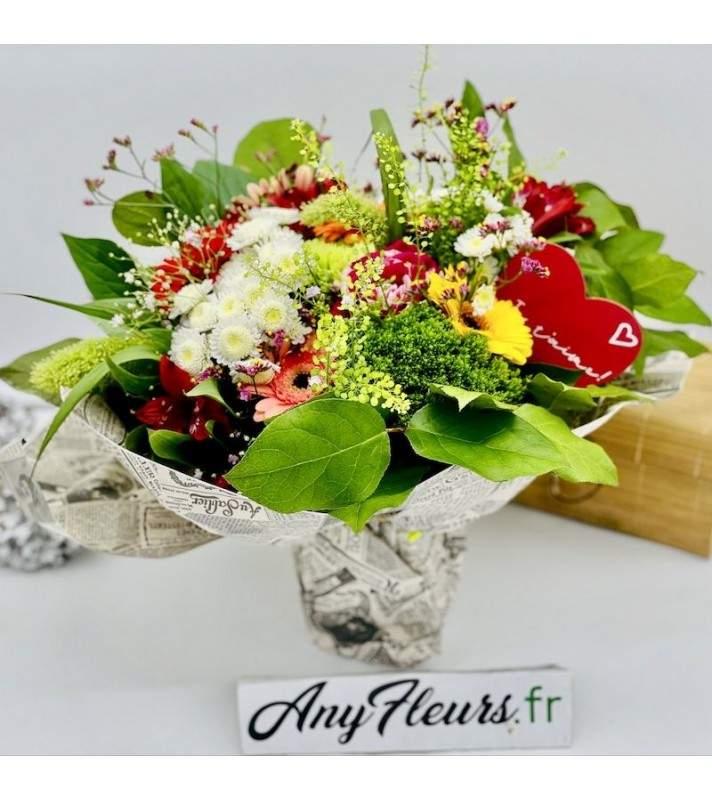 """Bouquet Fête des Mères multi couleurs en taille M ou XL """"T'aime Maman"""". AnyFleurs.fr"""