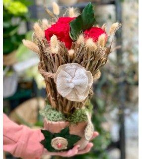 """Fleurs Séchées & Roses Éternelles en déclinaison de couleur rose ou rouge.""""Le Sec"""". Anyfleurs.fr"""