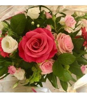 """Bouquet Rond Rose """"Mix"""". AnyFleurs.fr"""