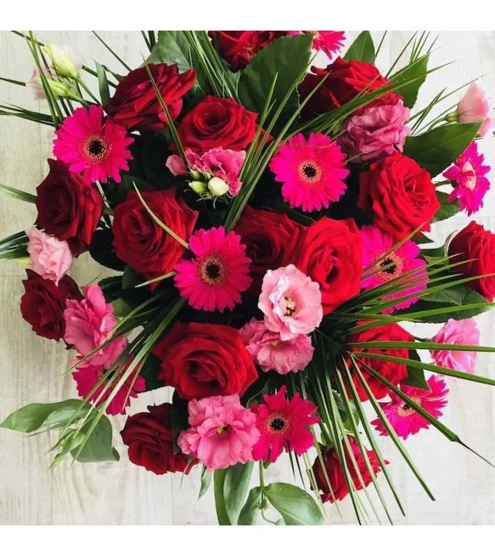 """Bouquet de Fleurs Pourpres """"YSL"""". Bouquet de fleurs pourpres rose fuchsia et rouge. AnyFleurs.fr"""
