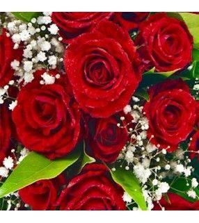 """Bouquet de Roses Blanches """"Reine des neiges"""". Bouquet rond de 20 à 25 roses rouges et gypsophile. AnyFleurs.fr"""