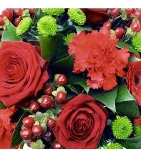 """Bouquet rond rouge et vert""""Câlin"""". AnyFleurs.fr"""