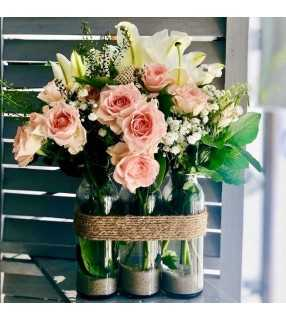 "Bouquet en vases "" Rosée du matin"". AnyFleurs.fr"