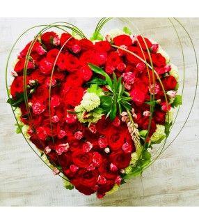 """Coeur Roses Rouges """" Pour Toujours Dans Mon Coeur"""". AnyFleurs.fr"""
