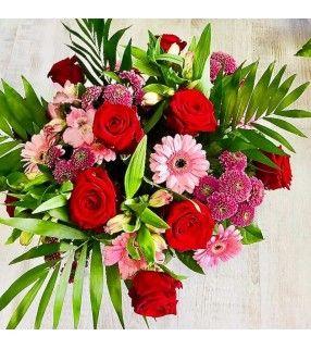 """Bouquet Varié rouge rose """"Joli Matin"""" avec roses rouges gros boutons. AnyFleurs.fr"""