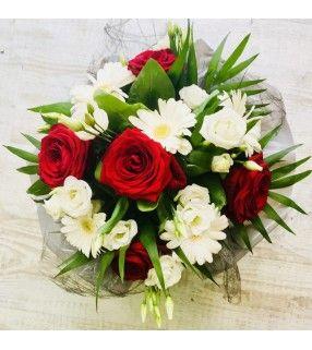 "Bouquet Rond Blanc Rouge "" Organz"". AnyFleurs.fr"