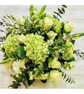 """Bouquet Vert et blanc """"Jardin d'été"""". AnyFleurs.fr"""