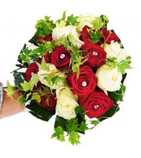 """Bouquet Rond Rouge Blanc """"Riviera"""". AnyFleurs.fr"""