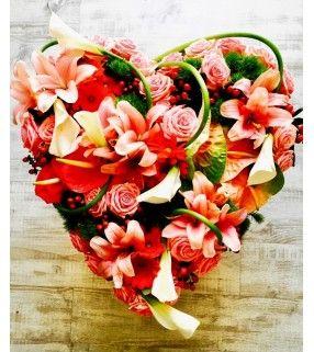 "Coeur Fleurs Variées Roses ""Hommage"". AnyFleurs.fr"