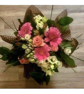 """Bouquet Pastel rond """"Jeune Fille"""". AnyFleurs.fr"""