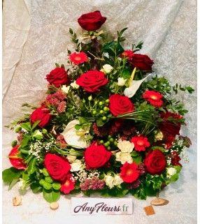 """Devant de Cercueil avec roses rouges gros boutons """"En rouge et Blanc"""". AnyFleurs.fr"""