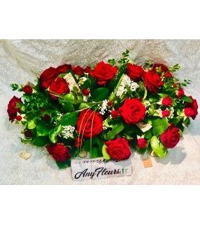 "Coussin Roses Rouges gros boutons ""Éternellement"". AnyFleurs.fr"