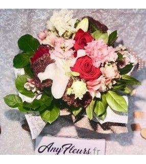"""Bouquet de Fleurs Variées avec roses rouges gros boutons""""Mélo-Méli"""". AnyFleurs.fr"""
