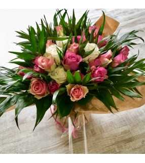 """Bouquet Rond Roses roses """"Frou-Frou"""". AnyFleurs.fr"""