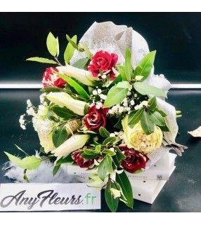 """Bouquet de Fleurs Rouge Blanc avec roses Harlequin""""Plume d'Hiver"""". AnyFleurs.fr"""